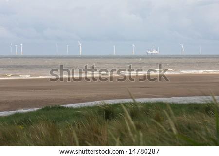 Offshore Wind Farm, Lincolnshire, England, U.K. - stock photo