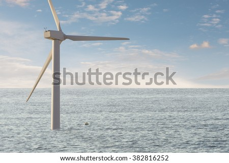 Offshore wind mill park. Alternative and green electricity production with wind mills. - stock photo