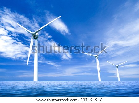 Offshore wind power - stock photo