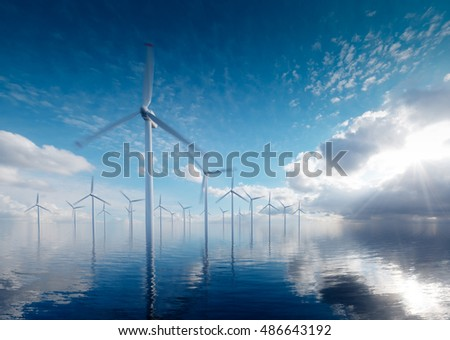 Offshore wind power plants in calm afternoon. 3d rendering.