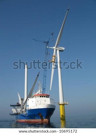 offshore wind turbine installation - stock photo