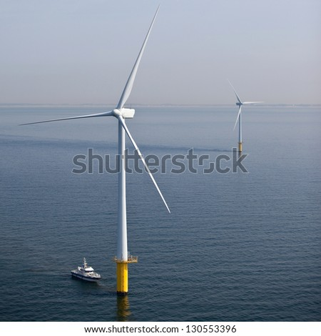 Offshore wind turbine maintenance - stock photo