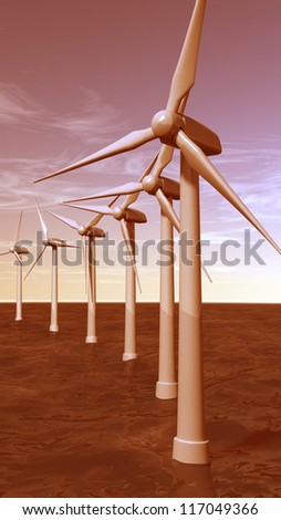 Offshore wind turbines during sunset - stock photo