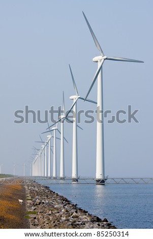 Offshore wind turbines in the Dutch sea - stock photo