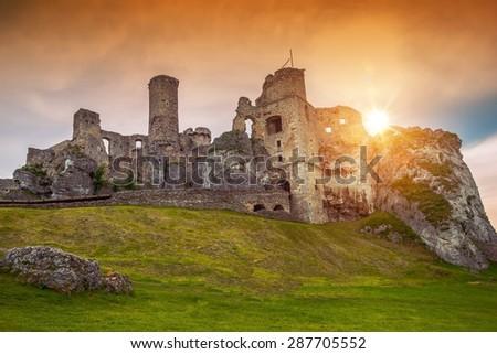 Ogrodzieniec Castle is a Ruined Medieval Castle in the Krakow-Czestochowa Upland, Poland, Europe. - stock photo