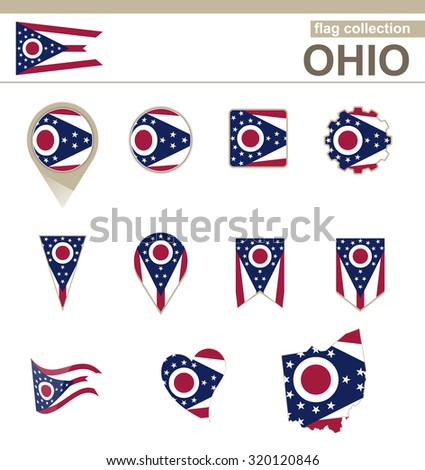 Ohio Flag Collection, USA State, 12 versions, Rasterized Copy - stock photo