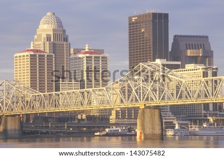 Ohio River and Louisville skyline, KY - stock photo