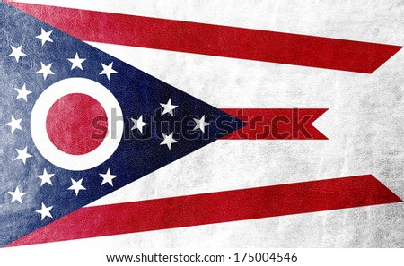 Ohio State Flag painted on leather texture - stock photo