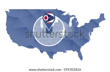 Ohio State Magnified On United States Map Abstract Usa Map In Blue Color Raster