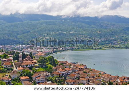 Ohrid bay with red roofs, Macedonia - stock photo