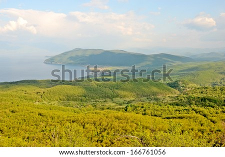 OHRID, MACEDONIA, MAY 18, 2011. A view to lake Ohrid from a mountain.  - stock photo
