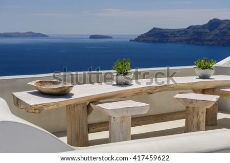 Oia luxury decks and patios - stock photo