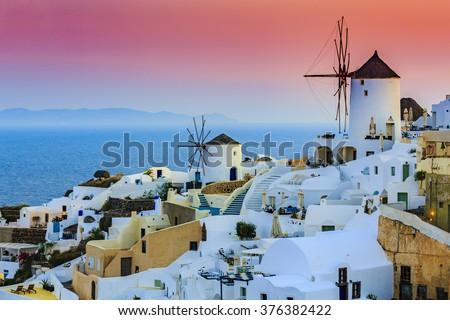 Oia, Santorini, Greece, sunset  - stock photo