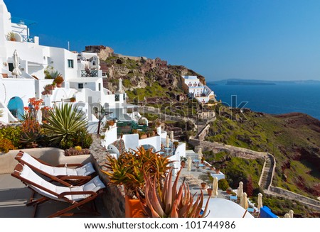 Oia village at Santorini island in Greece - stock photo