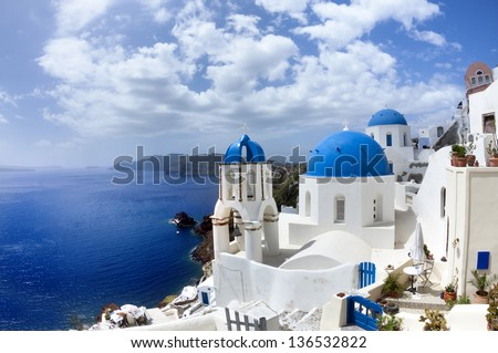 Oia village in Santorini island.Greece. - stock photo