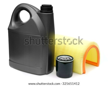 oil, air and oil filter car on a white background close-up - stock photo