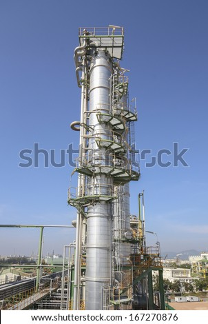 Oil and chemical refinery plant with blue sky