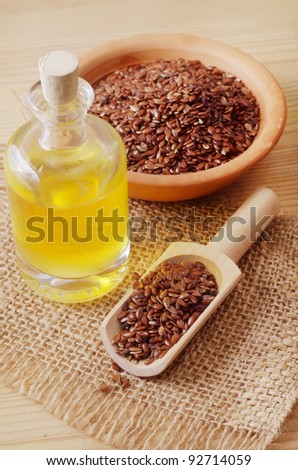 oil and flax - stock photo