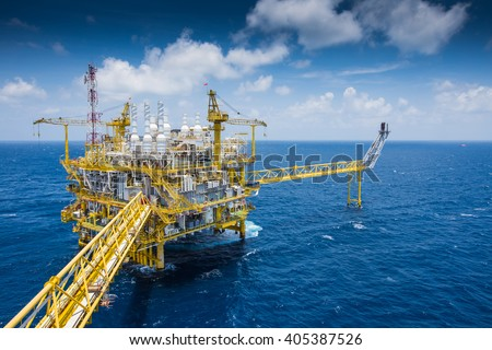 Oil and Gas central processing platform at top view in the gulf of Thailand in strong wind and high wave - stock photo