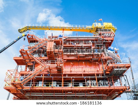 Oil and gas construction platform - stock photo