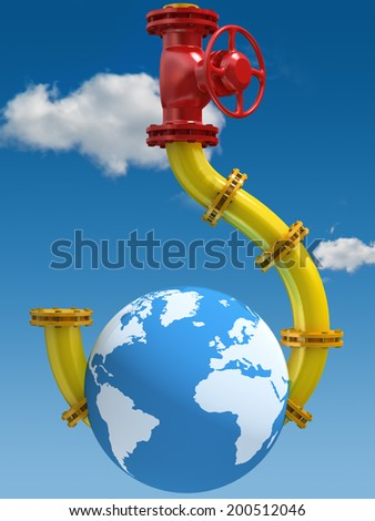 Oil and Gas Dependence. Conceptual illustration. - stock photo