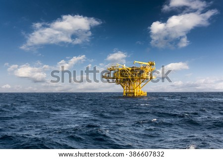 Oil and gas drilling platform industrial in the gulf or the sea, The world energy industrial oil and gas, Offshore oil and gas industrial rig construction.