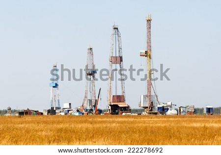 Oil and gas drilling rig in Russia - stock photo