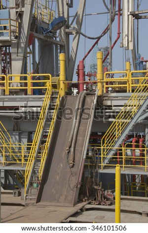 Oil and Gas drilling rig. Steel cantilever structure with showing steel V-door, derrick and drill floor on a drilling rig.