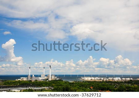 Oil and gas factory, panorama. - stock photo