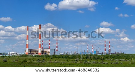 Oil and Gas factory Panoramic view Green technology