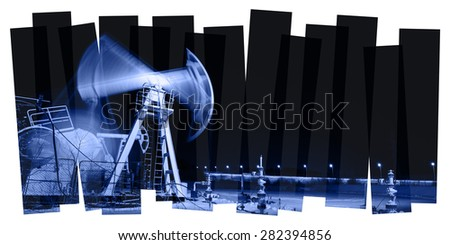 Oil and gas industry abstract composition background. Panoramic of a pumpjack. Night view.  - stock photo