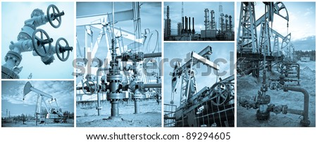 Oil and gas industry. Extraction of oil. Monochrome, toned blue. - stock photo