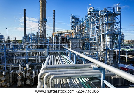 oil and gas industry in powerful HDR processing effect - stock photo