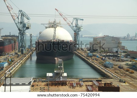 Oil and gas industry liquefied natural gas tanker LNG - stock photo
