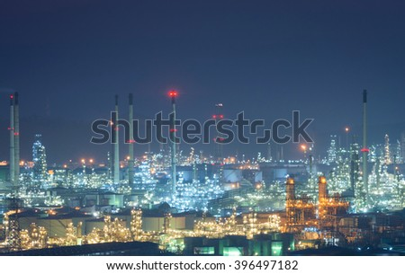 Oil and gas industry - Oil refinery  - factory - petrochemical plant - stock photo