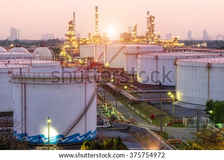 Oil and gas industry - refinery at twilight - factory - petrochemecal plant - stock photo