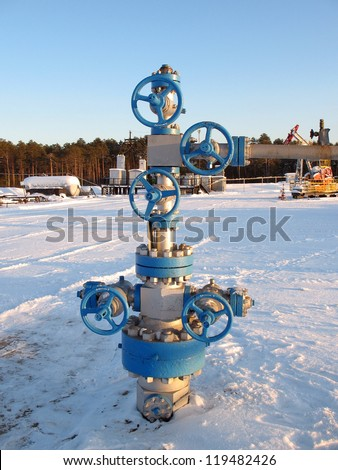 Oil and gas industry. Work of oil electric pump on a oil field. Extraction of oil. Oil industry of West Siberia - stock photo