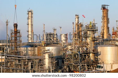 Oil and gas indutry - Petrochemical plant - stock photo