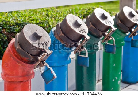 Oil and gas pipelines in plants. - stock photo