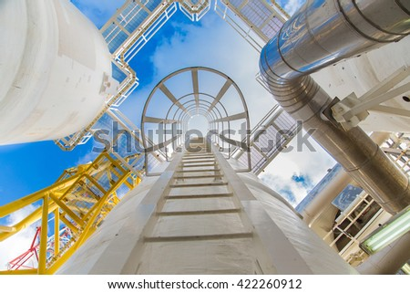 Oil and Gas processing platform, part of platform,dehydration process to remove moisture and heavy hydrocarbon out of gas.     - stock photo
