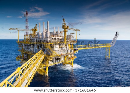 Oil and Gas processing platform that produce natural gas and condensate. - stock photo