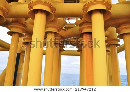 Oil and Gas Producing Slots at Offshore Platform - Oil and Gas Industry, Production pipe line from well head platform to Production plant. - stock photo
