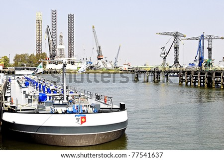 oil and gas  tanker in Rotterdam harbor
