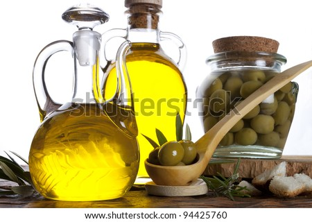 oil and olives - stock photo