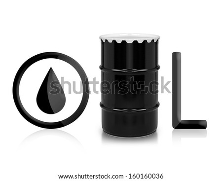 Oil and Petroleum Barrel on white isolated background.  (with clipping work path)
