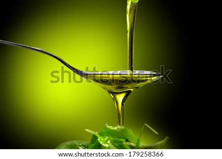 oil and salad - stock photo