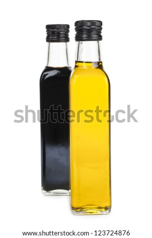 Oil and soy sauce bottle isolated in a white background - stock photo