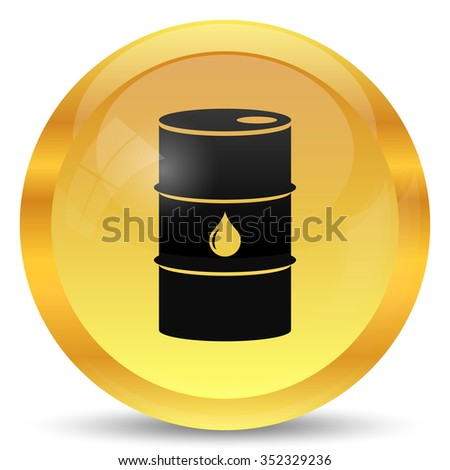 Oil barrel icon. Internet button on white background.