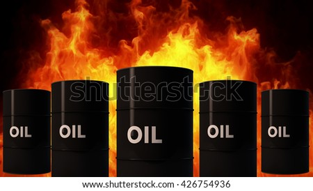 Oil Barrel in Raging Fire Oil Price Crisis Concept 3D Illustration - stock photo
