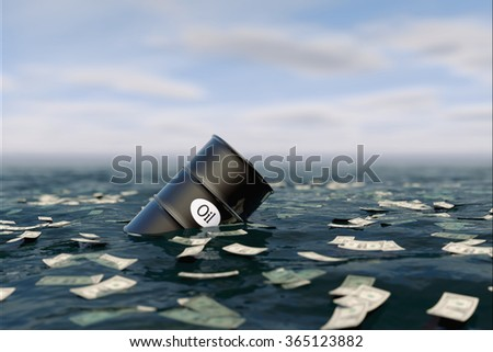 Oil barrel in water. price oil down.  crisis concept - stock photo
